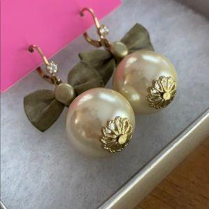 Betsey Johnson Faux Pearl & Mesh Bow Earrings
